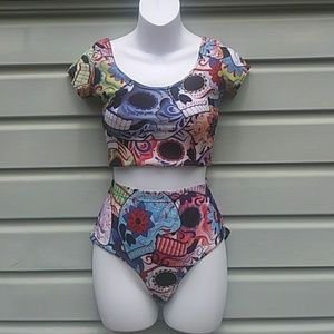 Other - 5/$25 High waisted skull swimwear
